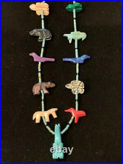 Vintage Zuni Hand Carved Fetish Necklace Bear Bird Turtle Turquoise Sterling 25G
