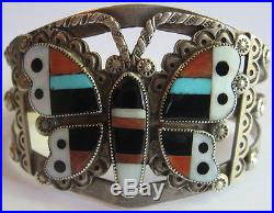 Vintage Zuni Indian Silver Inlaid Coral Turquoise Onyx Butterfly Cuff Bracelet