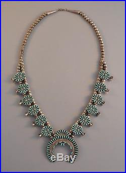 Vintage Zuni Indian Silver Squash Blossom Necklace Turquoise Clusters 25.5