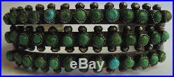 Vintage Zuni Indian Silver Three Row Snake Eye Turquoise Cuff Bracelet