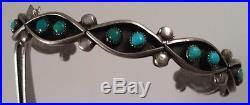 Vintage Zuni Indian Snake Eyes Turquoise Sterling Silver Bracelet Cuff