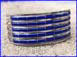 Vintage Zuni Native American Lapis Lazuli Inlay Sterling Silver Cuff Bracelet