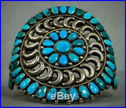 Vintage Zuni Native American Sterling Silver Turquoise Cluster Cuff Bracelet OLD