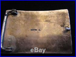 Vintage Zuni Native American Wayne C Turquoise Sterling Silver Belt Buckle