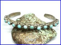 Vintage Zuni Native Sterling Silver Snake Eye Turquoise Row 6.5 Cuff Bracelet