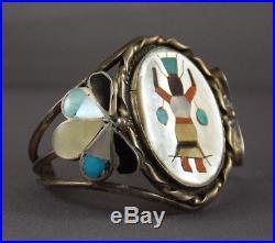 Vintage Zuni/Navajo Silver Inlay Bracelet Depicting Apache Gan Dancer (Kachina)
