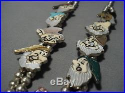 Vintage Zuni Navajo Turquoise Sterling Silver Squash Blossom Necklace Disney