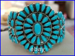 Vintage Zuni Petit Point Sterling and Turquoise Cuff Style Bracelet Navajo