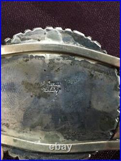 Vintage Zuni Petit Point Sterling silver Turquoise Cuff Bracelet Navajo Native