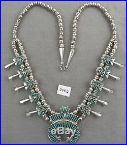 Vintage Zuni Petite Point Squash Blossom Necklace, Ray & Eva Wyaco, NICE