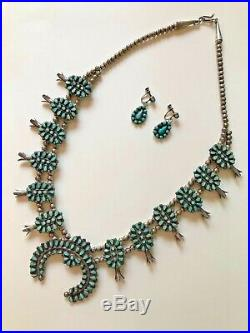 Vintage Zuni Petite Point Turquoise Squash Blossom Necklace & Earrings Signed