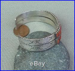 Vintage Zuni Signed Silver 2 Row Red Coral Needlepoint Cuff Bracelet