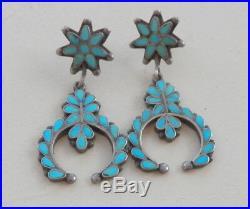 Vintage Zuni Silver Turquoise Inlay Earrings Long Pierced Naja Design Dangle