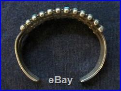 Vintage Zuni Snake Eyes Sterling Turquoise 2 Row Bracelet