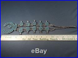 Vintage Zuni Squash Blossom Genuine Turquoise and Silver Necklace 1950's