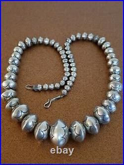 Vintage Zuni Sterling Silver Bench Bead Necklace 22.5 Inches Signed Lh