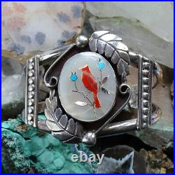Vintage Zuni Sterling Silver Coral Mother of Pearl Inlay Cardinal Cuff Bracelet