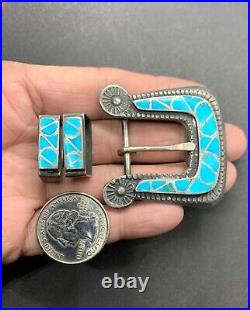 Vintage Zuni Sterling Silver Fish Scale Inlay Turquoise Ranger Belt Buckle Set