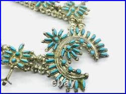 Vintage Zuni Sterling Silver Needle Point Turquoise Squash Blossom Necklace