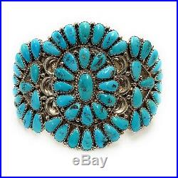 Vintage Zuni Sterling Silver Petit Point Cluster Turquoise Cuff Bracelet