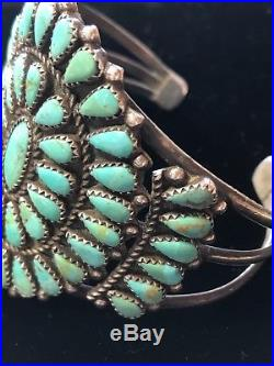 Vintage Zuni Sterling Silver Petit Point Turquoise Cluster Bracelet Cuff, c1960s