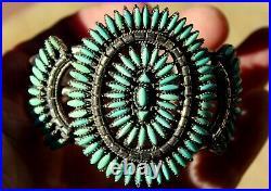Vintage Zuni Sterling Silver & Petit-Point Turquoise Stones Cuff Bracelet