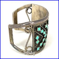 Vintage Zuni Sterling Silver Petit Point Turquoise Wide Cuff Bracelet