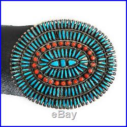 Vintage Zuni Sterling Silver Turquoise & Coral Petite Pointe Concho Belt