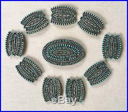 Vintage Zuni Sterling Silver Turquoise Needlepoint Concho Belt SIGNED