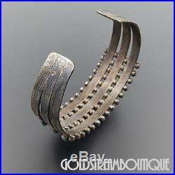 Vintage Zuni Sterling Silver Turquoise Snake Eye 3 Row Wide Cuff Bracelet #06492