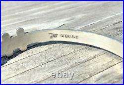 Vintage Zuni Sterling Turquoise Blue Snake Eye Cuff Bracelet