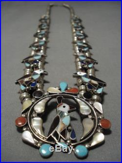 Vintage Zuni Turquoise Coral Sterling Silver Squash Blossom Necklace Old