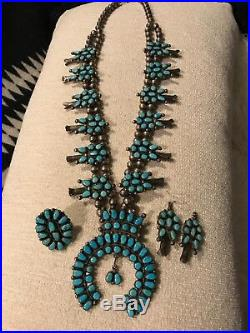 Vintage Zuni Turquoise and Sterling Silver Squash Blossom Necklace