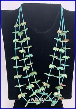 Vintage Zuni bear bird turquoise carved animal 3 strand fetish Heishi necklace