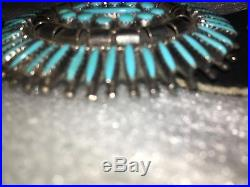 Vintage concho belt sterling leather turquoise authentic stamped LH