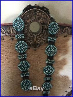 Vintage native american concho belt sterling silver and turquoise signed P Jones