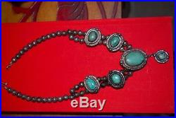 Vintage old Navajo Native American squash blossom necklace green turquoise beads