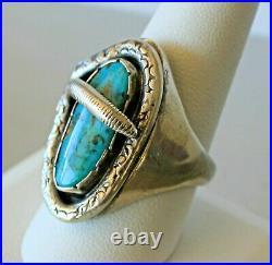 Viola Calavaza Vintage Old Pawn Zuni Sterling Turquoise SNAKE Ring Size 11