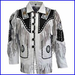 Vipzi Mens Native American Indian Suede Leather Jacket Bead bone & Fringe Work