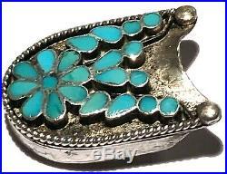 Virgil Dishta Zuni Native American Rare Vintage Belt Buckle Set Silver Turquoise