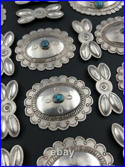 Vtg 1940s Navajo 22 Concho Stamped Sterling Silver Lone Mountain Turquoise Belt