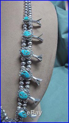 Vtg 2 Strand Navajo Silver Turquoise Squash Blossom Necklace