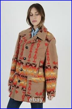 Vtg 70s Pendleton Harding Coat Southwestern Blanket Native American Field Jacket