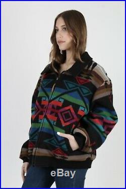 Vtg 80s Pendleton Jacket Native American Southwestern Black Wool Blanket Coat