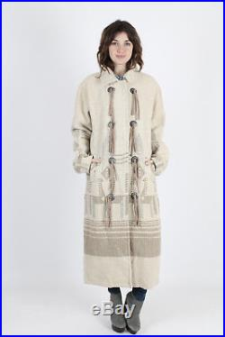 Vtg 80s Woolrich Jacket Ivory Southwestern Blanket Native American Duster Coat M