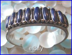 Vtg 90's ERNEST ROY BEGAY ERB Lapis Row Silver Cuff Bracelet, Small 6-1/8