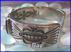Vtg 90's ERNEST ROY BEGAY ERB Lapis Row Silver Cuff Bracelet, Small 6-1/8