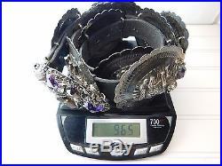 Vtg BOB STRINGER Sterling Silver Ametrine Garnet Amethyst WOLF CONCHO Belt 965g
