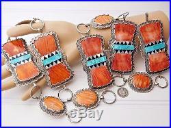 Vtg Benny Valerie ALDRICH ART Sterling Silver Spiny Oyster Turquoise Concho Belt