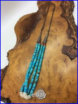 Vtg Double Strand Navajo Jacla Necklace Turquoise Shell Coral Sterling Silver